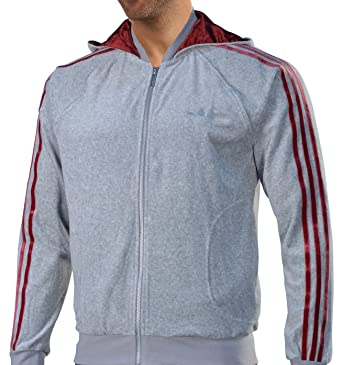 f788f567f47 Adidas Velour Men`s Hooded Track Jacket - Medium Heather Grey / Cardinal ( Small
