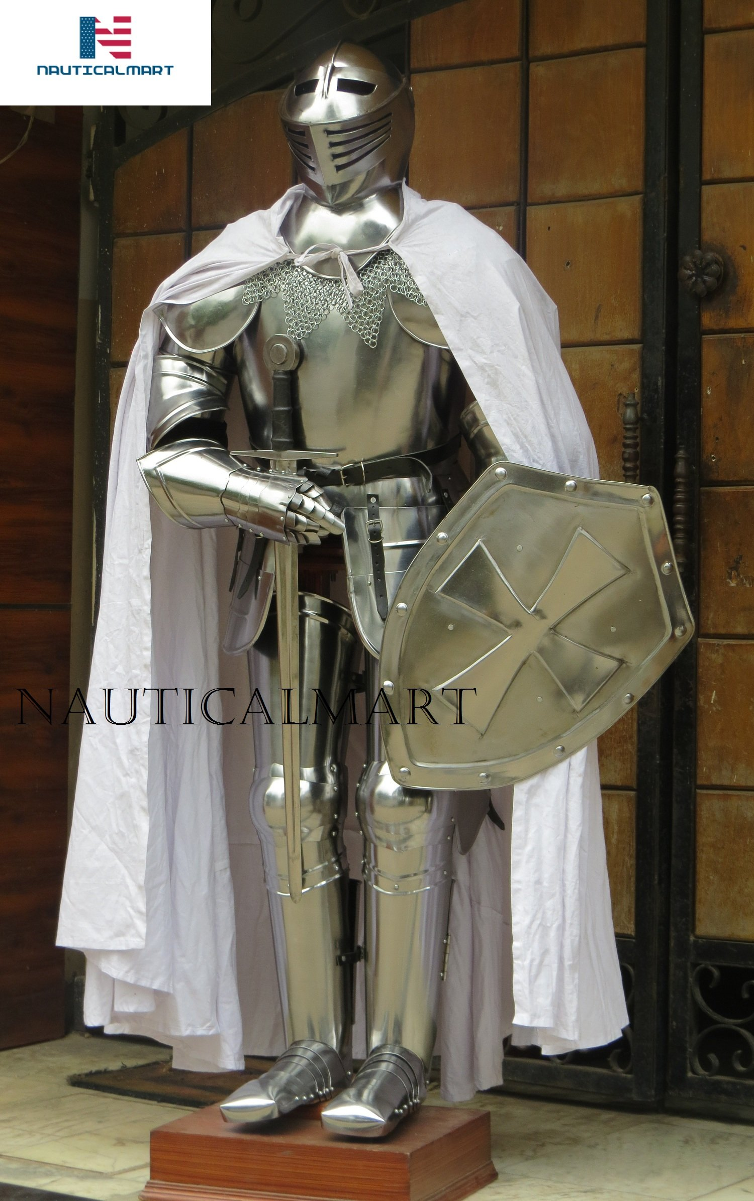 NAUTICALMART Knight Suit of Armor Medieval Reenactment Wearable Metallic One Size Halloween, Shield, Sword, Cape, Chainmail