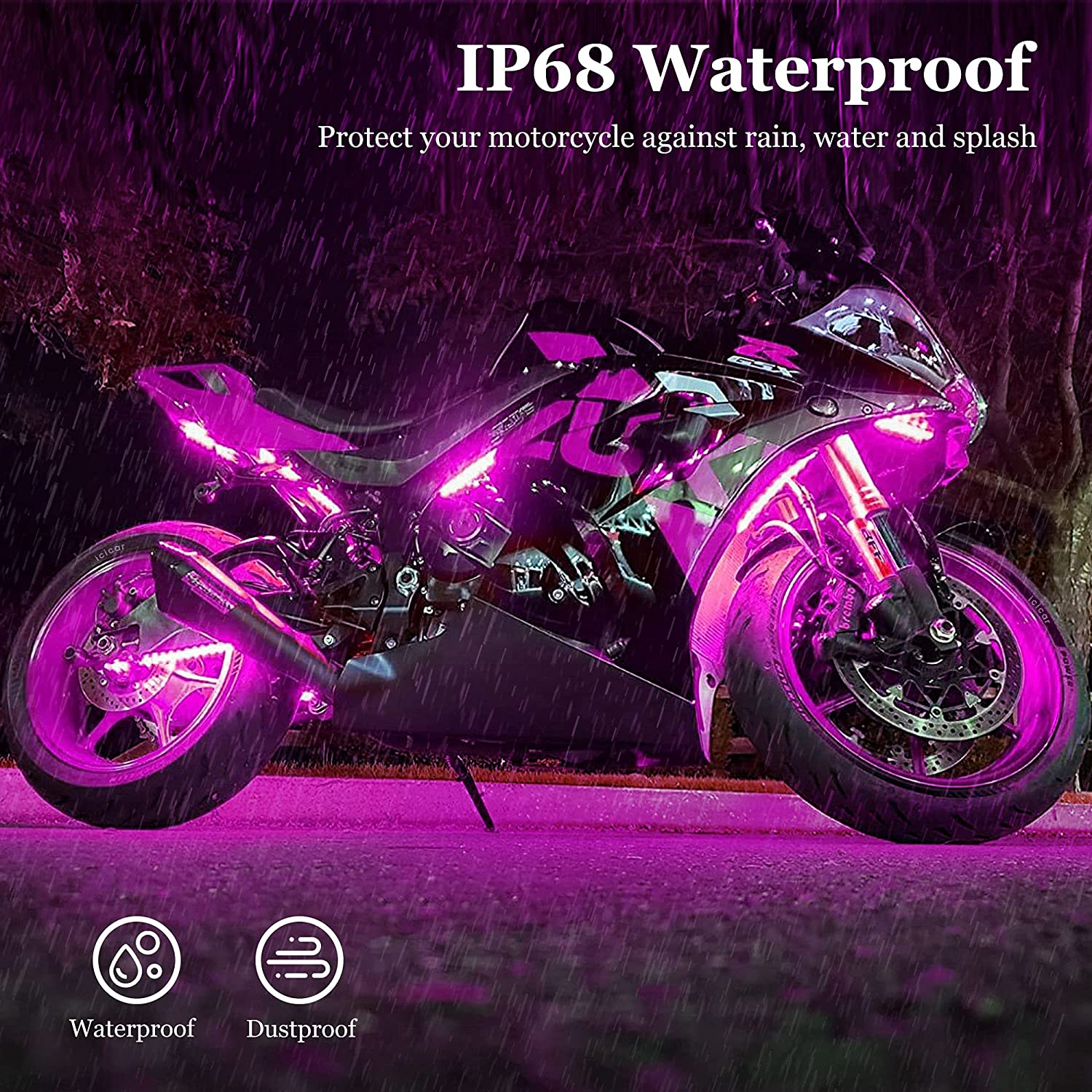 icicar 8pcs Motorcycle LED Lights Motorcycle LED Light Kit App Control RGB 16 Million Colors Brake Light Music Mode IP68 Waterproof w//Dual Remote Control LED Lights for Motorcycles