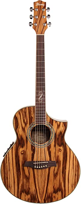 Amazon Com Ibanez Ew20zwent Exotic Wood Series Acoustic Electric Guitar Zebrawood Natural Musical Instruments