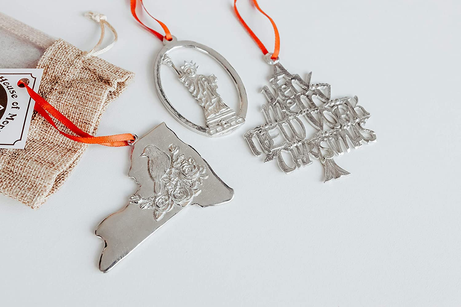 Handmade New York Ornaments for Christmas Tree - NY Metal Souvenirs and Gifts - Big Apple Gift Set for Traveler