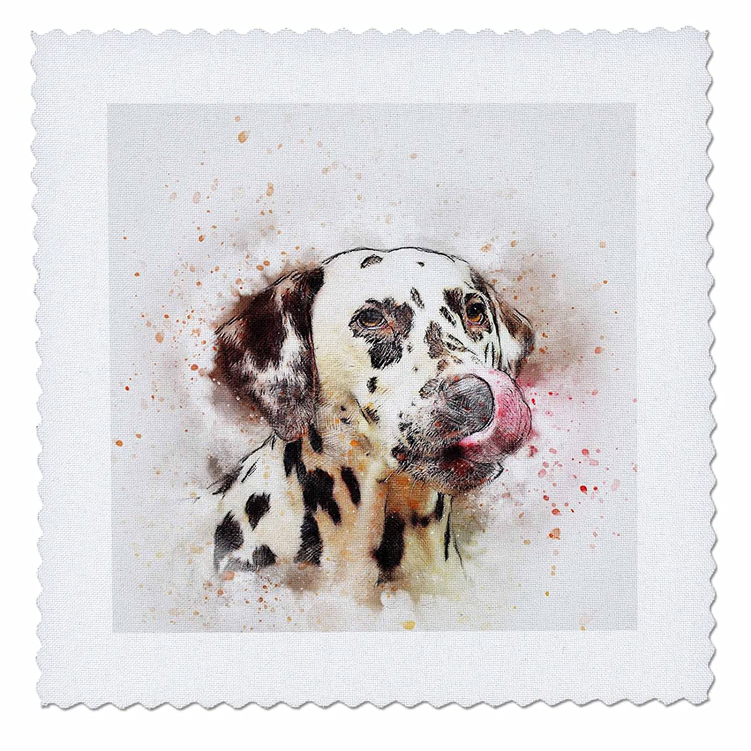3dRose Sven Herkenrath Animal - Dalmatiner Watercolor Dog Pet Puppy Funny Animal Portrait - 16x16 inch quilt square (qs_280292_6)
