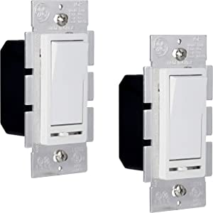 GE 2 Pack, Slide Dimmer Rocker Wall Switch, Single Pole, for Dimmable LED, CFL, Incandescent Light, Bulbs, UL Listed, White, 55240