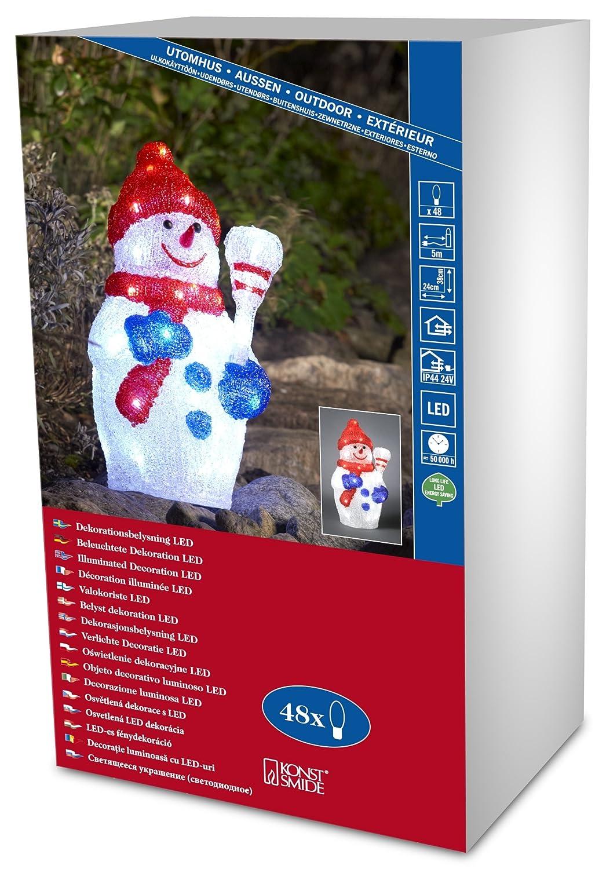 Konstsmide 6173-203 LED AcrylfigurSchneemann mit Ski / für Außen (IP44) / 24V Außentrafo / 24 kalt weiße Dioden/transparentes Kabel