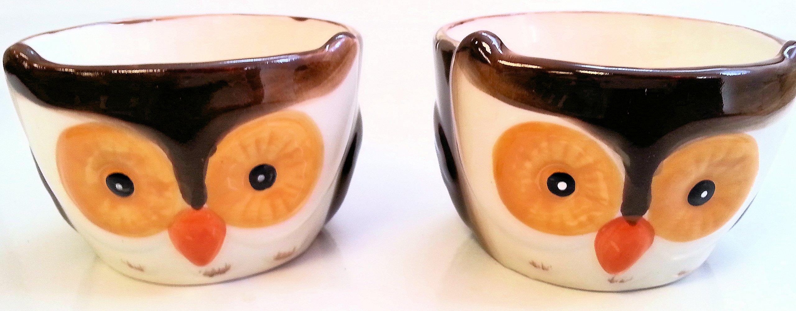 Set of 2 Owl Ceramic Ramekins, Dessert Bowl Dishes by WM