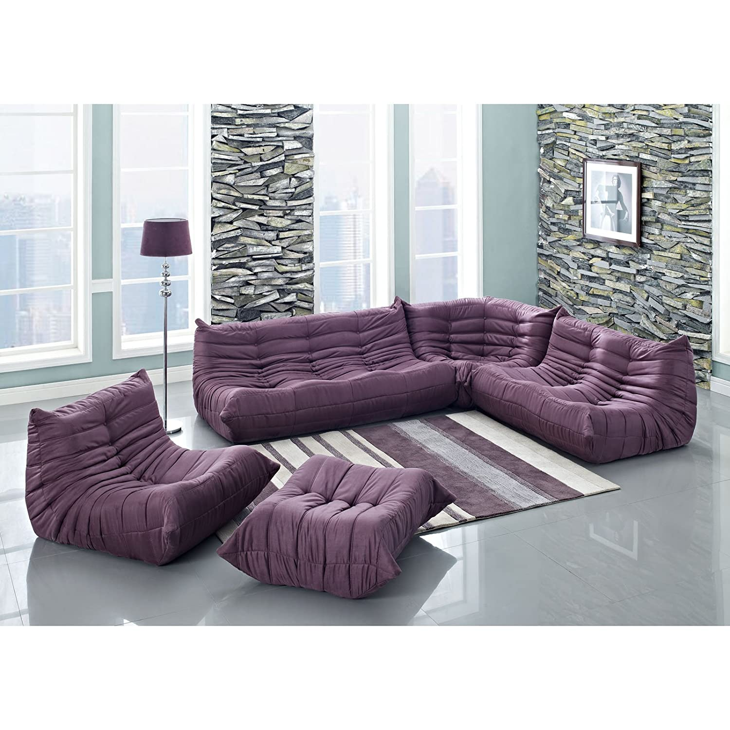 Amazon Lexington Modern Waverunner Modular Sectional Sofa Set