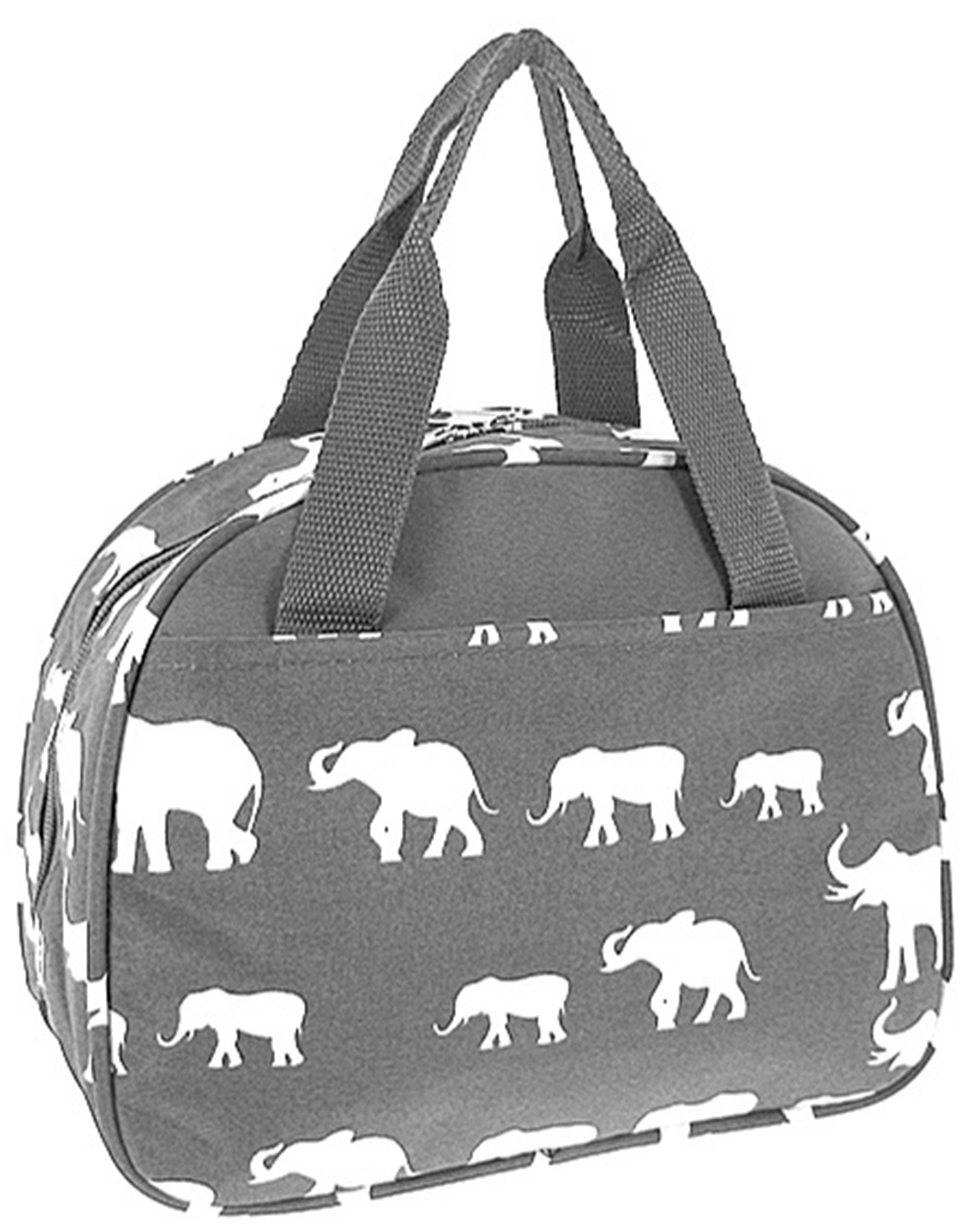 Elephant Print Insulated Lunch Bag Tote (Grey)