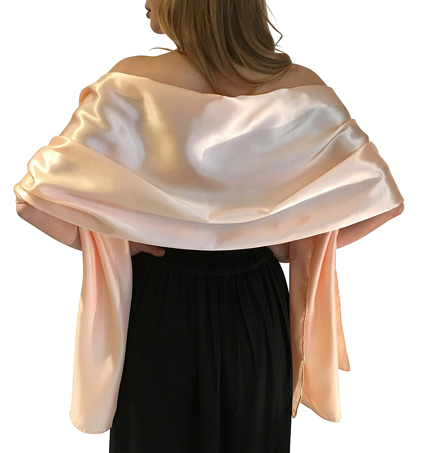 Silky Satin Wedding Wrap Stole Shawl Pashmina Scarf For Brides Bridesmaids in Ivory White Black Blue Silver Gold Pink Grey Green