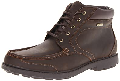 Rockport Men's Rugged Bucks Moc Boot Waterproof Dark Tan 6.5 W (EE)-6.5