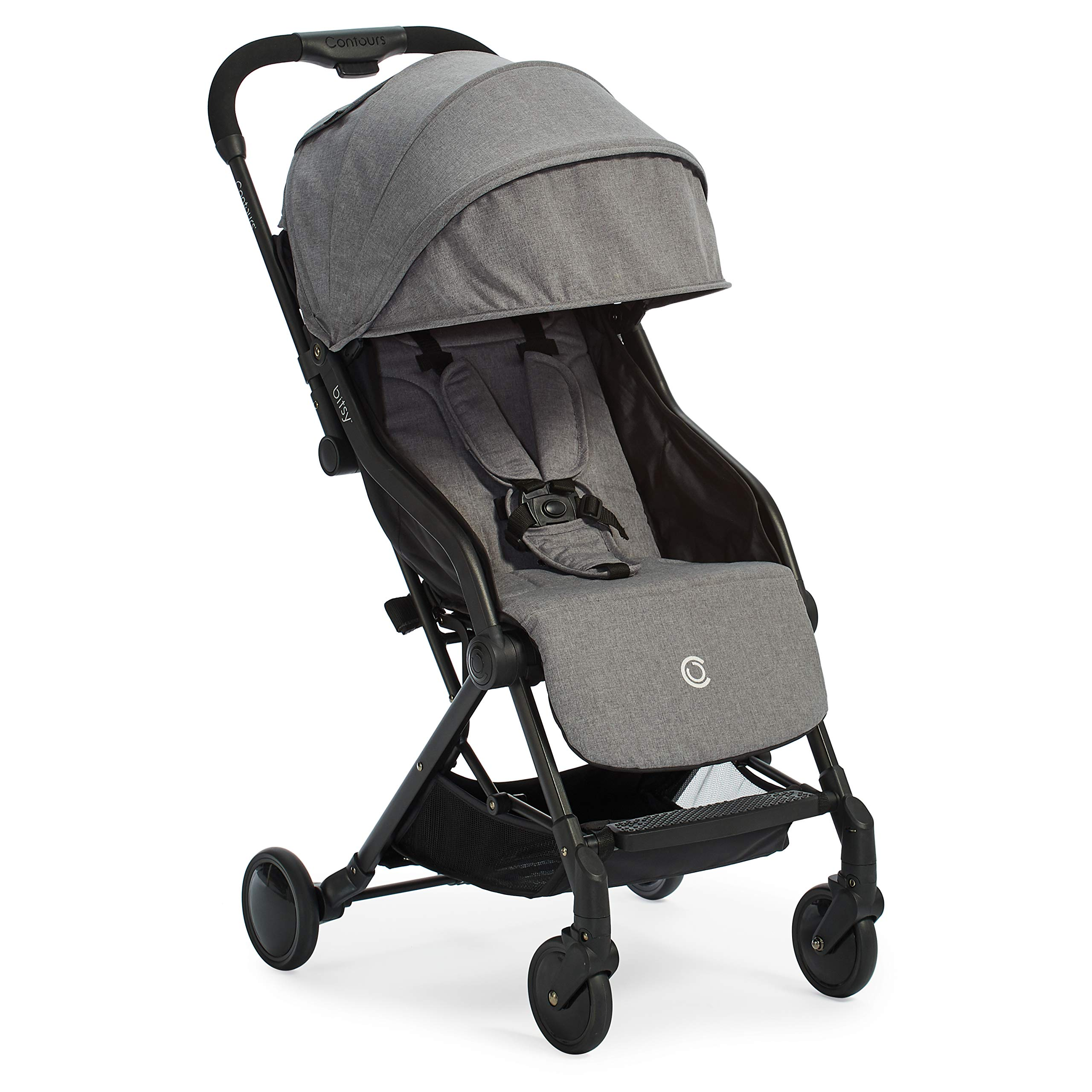 Contours Bitsy Compact Fold Lightweight Stroller for Travel, Airplane Friendly, Adapter-Free Car Seat Compatibility, Granite Grey