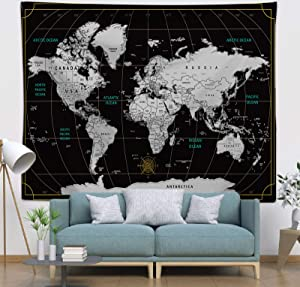 COLORPAPA World Map Tapestry Black White Wall Hanging Modern Wall Decor Poster for Living Room Bedroom Dorm 60x50 Inches