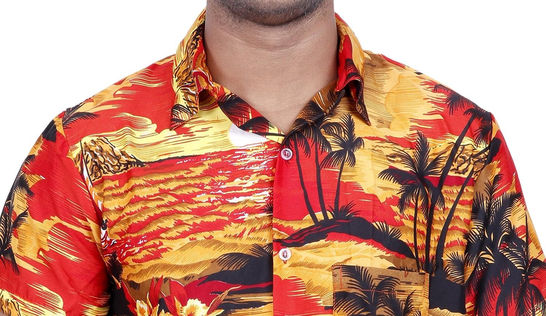 Virgin Crafts Hawaiian Shirt for Men Printed Short Sleeve Button Down Beach Shirt