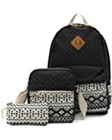 OURBAG Canvas Casual Lightweight Backpack Shoulder Bags Wallet 3PCS Set for Women
