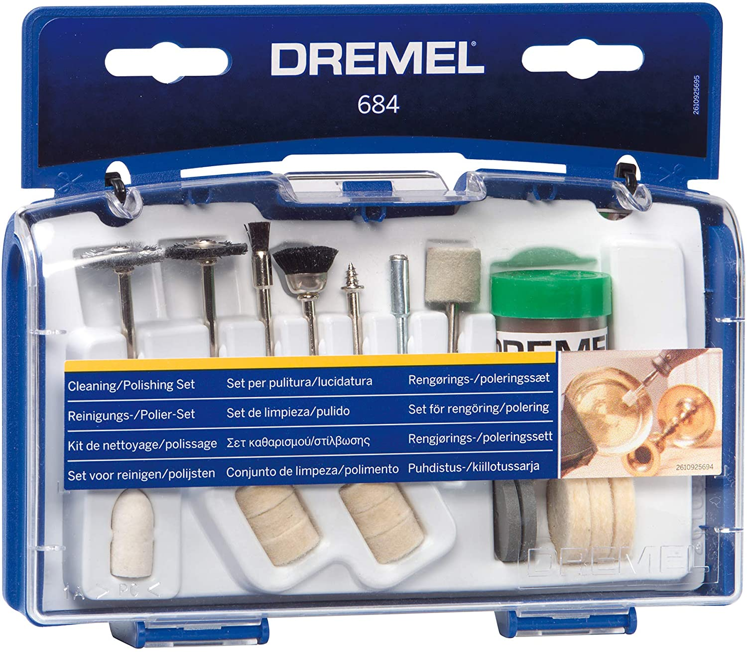 Dremel 684-01 20-Piece Cleaning & Polishing Rotary Tool Accessory Kit With Case- Includes Buffing Wheels, Polishing Bits, and Compound - Power Rotary Tool Accessories -