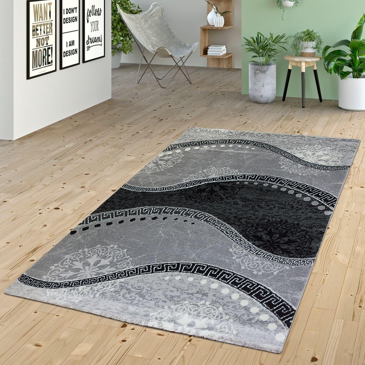 T T Design Teppich Wohnzimmer Glitzer Garn Modern Wellen Muster