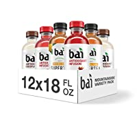 Bai Flavored Water, Mountainside Variety Pack, Antioxidant Infused Drinks, 18 Fluid Ounce Bottles, 12 Count, 3 each of Tanzania Lemonade Tea, Ipanema Pomegranate, Molokai Coconut, Panama Peach
