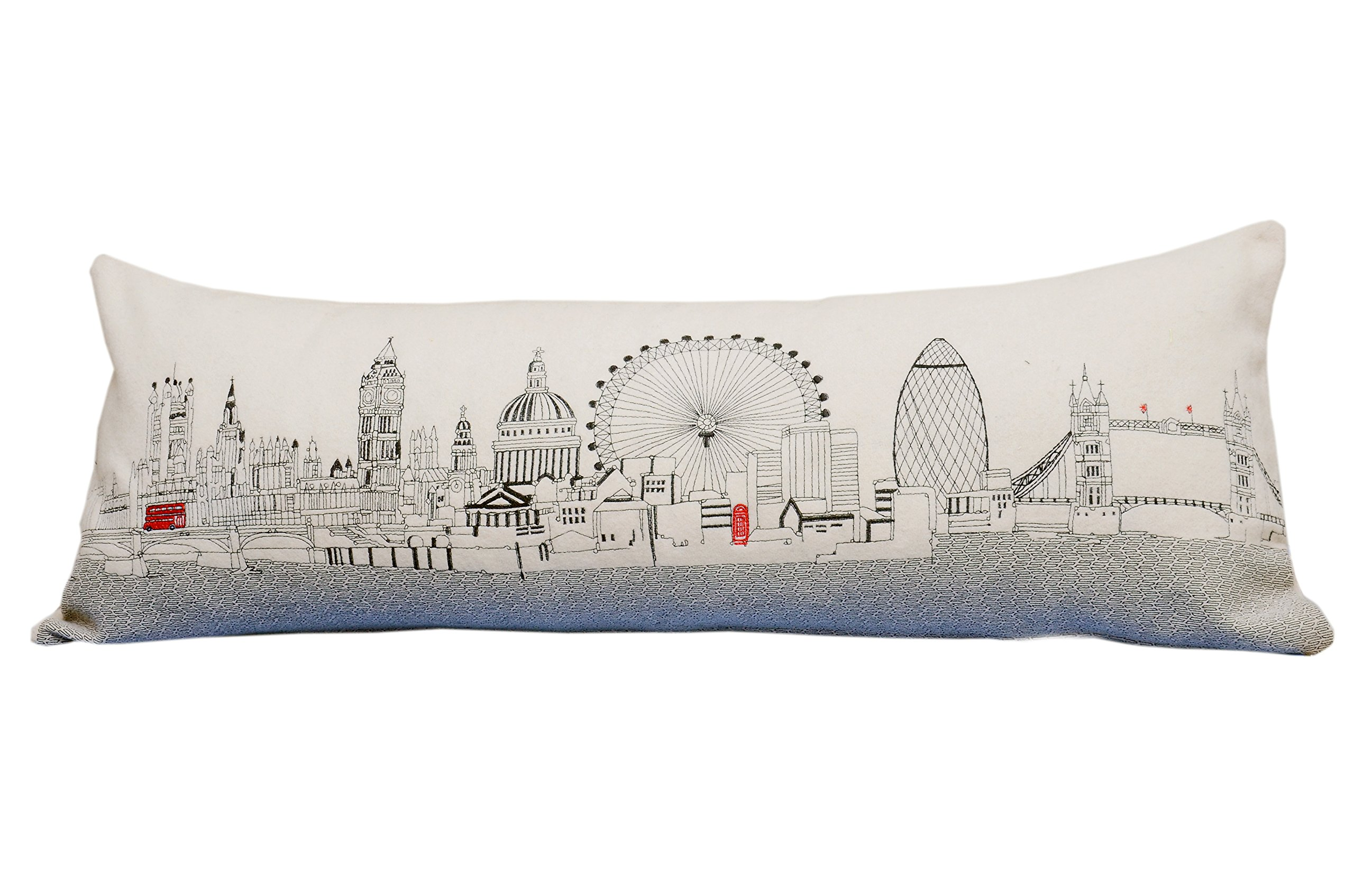 BEYOND CUSHIONS Polyester Throw Pillows London England Daytime Skyline Queen Size Embroidered Pillow 35 X 14 X 5 Inches Off-White
