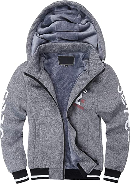 SWISSWELL Boys Fleece Hoodie Full Zip Hooded Sweatshirt with Thick Sherpa Lined