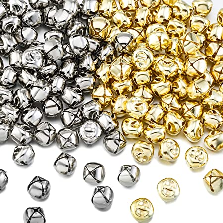 WINOMO Piccole campanelle ciondoli campanellini per albero di Natale 100 pezzi da 12 mm colore: argento decorazione per Natale matrimonio