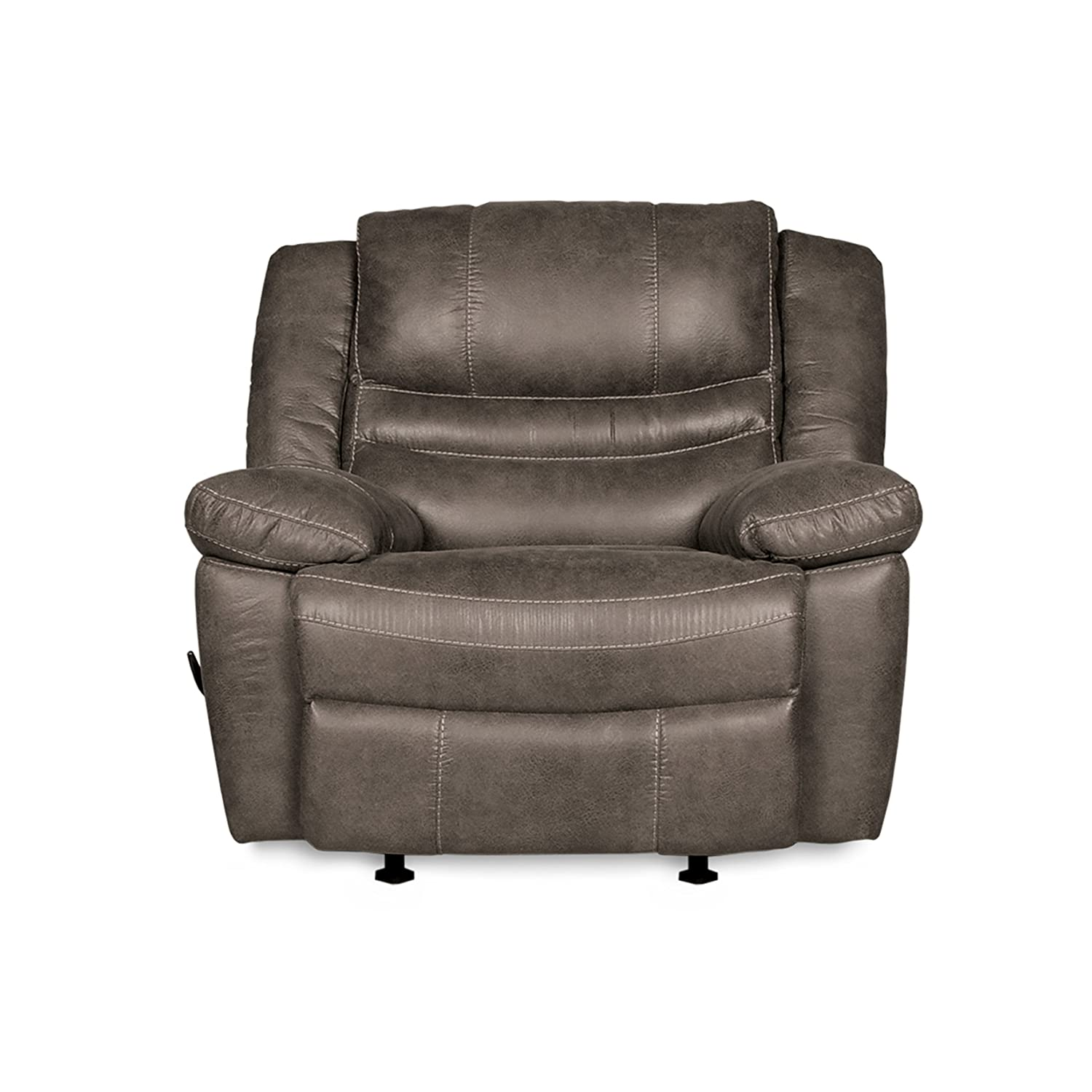 RevoluXion Mason Rocker Recliner Chair with Three Positions & Lumbar Support, Durable Faux Leather with Curved Shape Promises Generous Comfort, Quick & Easy to Assemble (Ash) 2400