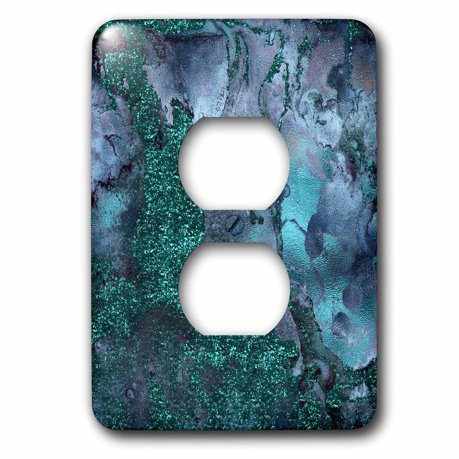 3dRose Uta Naumann Faux Glitter Pattern - Luxury Malachite Ombre Gem Stone Marble Glitter Metallic Faux Print - Light Switch Covers - 2 plug outlet cover (lsp_269018_6) by 3dRose (Image #1)