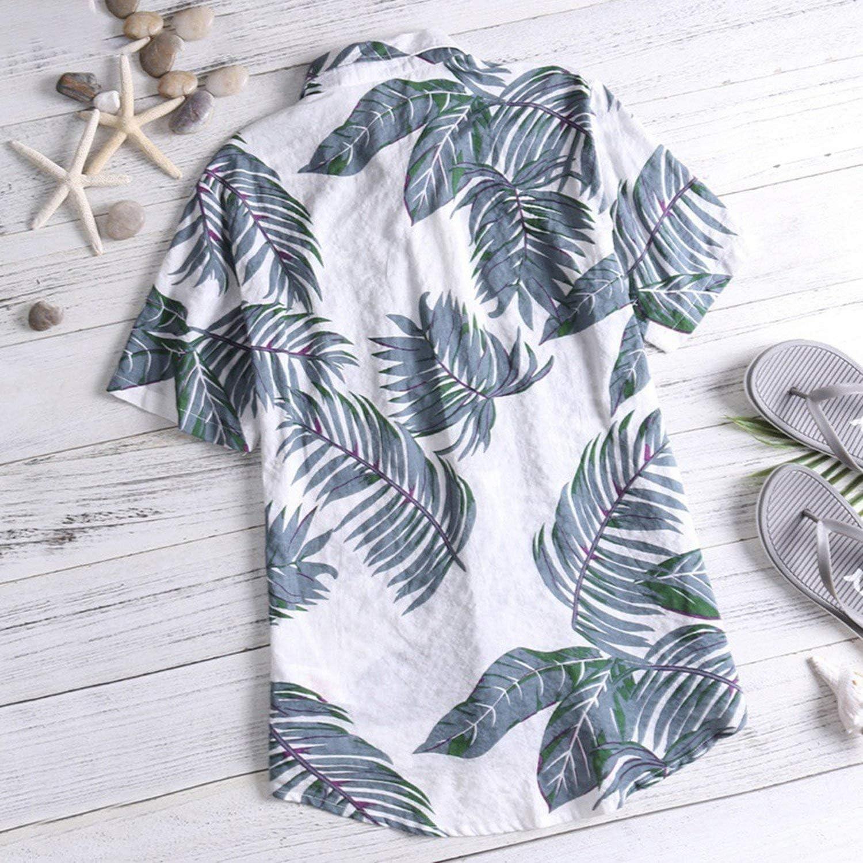 Hawaiian Short Sleeve Print Shirt Vacation Plus Size Casual Stand Collar Button Shirt,Red,XL,C