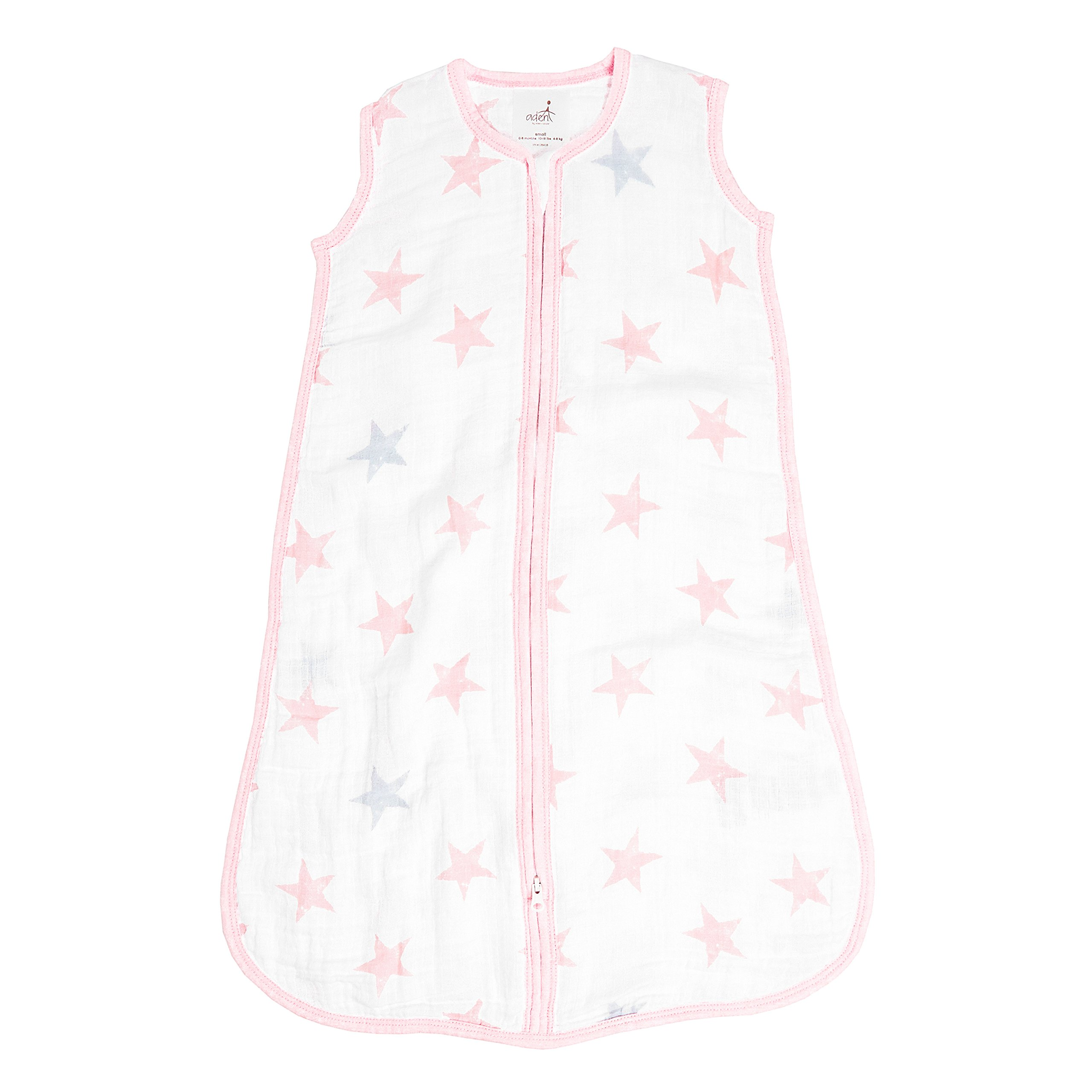 Aden by Aden + Anais Classic Sleeping Bag, 100% Cotton Muslin, Wearable Baby Blanket, Doll, Stars, Small, 0-6 Months