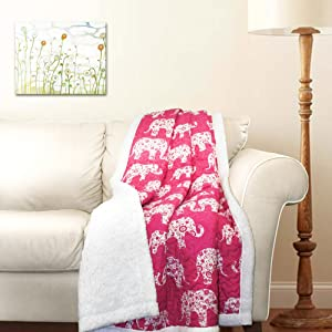 "Lush Decor Elephant Parade Throw Fuzzy Reversible Sherpa Blanket 60"" x 50"" Pink and White, 60 x 50,"
