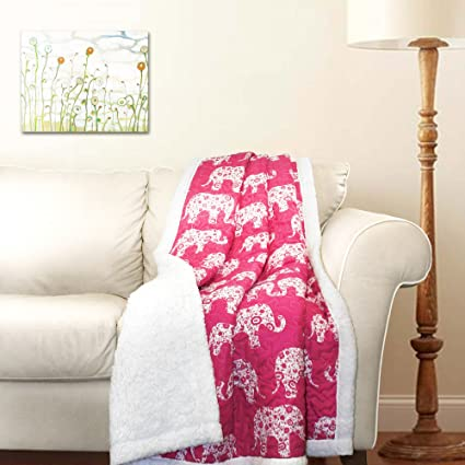 Amazon.com: Lush Decor Elephant Parade Throw Blanket, 60 x 50, Pink ...
