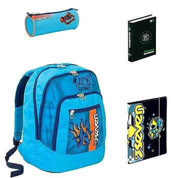 7021253372 Zaino Scuola Advanced Seven Color Boy Azzurro + portapenne + Diario BD +  Cartellina A4: Amazon.it: Sport e tempo libero