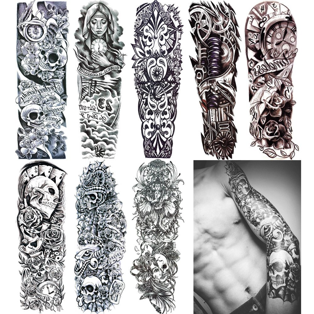 "18.9x6.7"" 8 Sheets Extra Large Temporary Fake Tattoos Set For Men and Women, Full Arm Tattoo Sticker Skull Flower Paper Decal Fake Tattoos Sleeve DIY Black Body Art Sticker, Black 1"