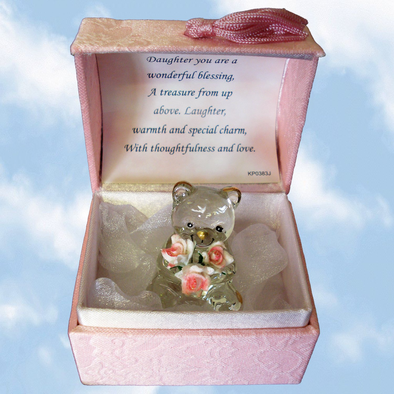 A Special Daughter Crystal Bear In A Box - Hand-Sculpted - 22KT Gold A Gift From The Heart 898004