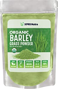 XPRS Nutra Organic Barley Grass Powder - Rich in Antioxidants, Chlorophyll, Enzymes, Fiber, Amino Acids and Protein - Barley Green Superfood Supports Healthy Immune Function and Digestion (8 oz)