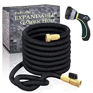 TheFitLife Flexible and Expandable Garden Hose - Strongest Triple Latex Core with 3/4  Solid Brass Fittings Free 8 Function Spray Nozzle, Easy Storage Kink Free Water Hose (25 Feet)