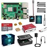 LABISTS Raspberry Pi 4 4GB Starter Kit with 32GB Micro SD Card Preloaded Raspberry Pi OS (Raspbian), Black Case, Heatsinks, F