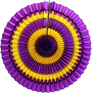 product image for 6-Pack 16 Inch Striped Honeycomb Fan Decoration, Purple Gold
