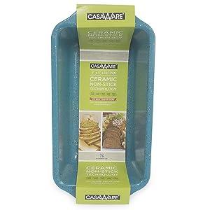 casaWare Loaf Pan 9 x 5-Inch Ceramic Coated Non-Stick, Blue Granite, standard
