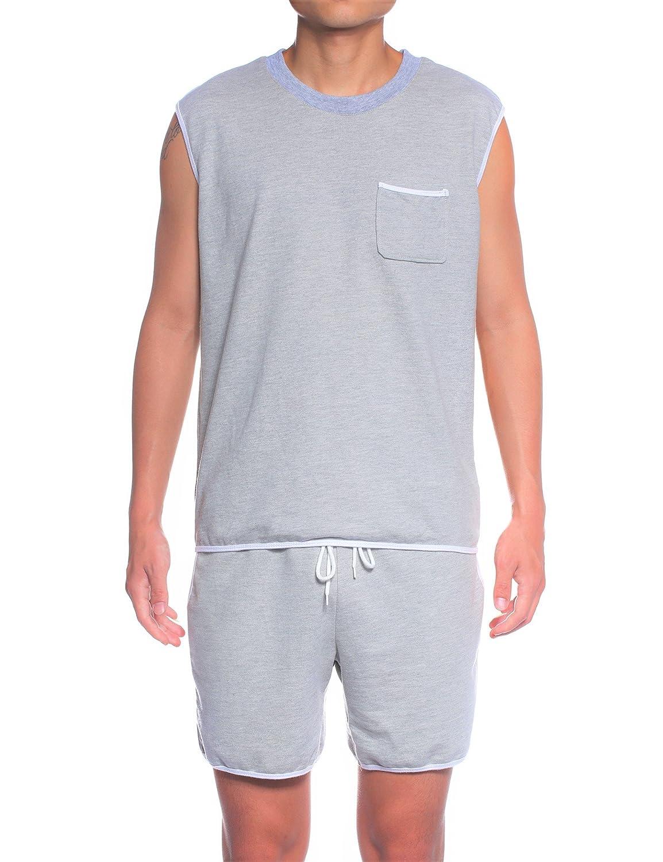 3c1c7fd081bbfa JeVenis Men s Cotton Sleeveless Pajamas Comfort Sleepwear Tracksuit Set  Shorts and Top Set at Amazon Men s Clothing store