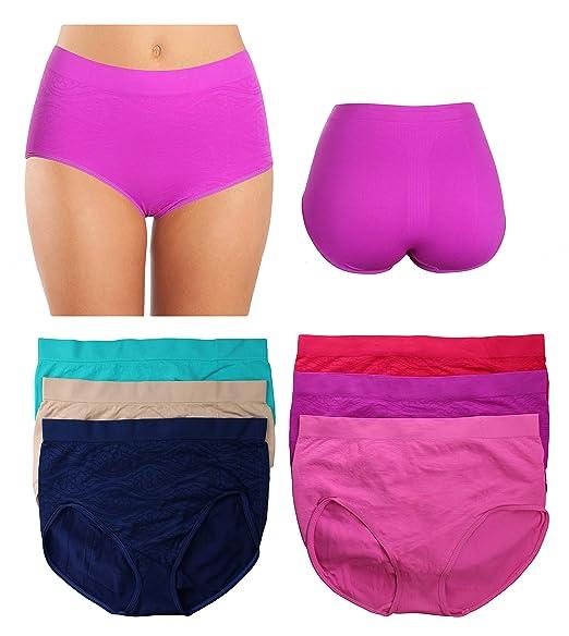 6327b735ee0dd Women s Plus Size Seamless High-Waisted Girdle Panties Briefs Cut Brief (XX- Large