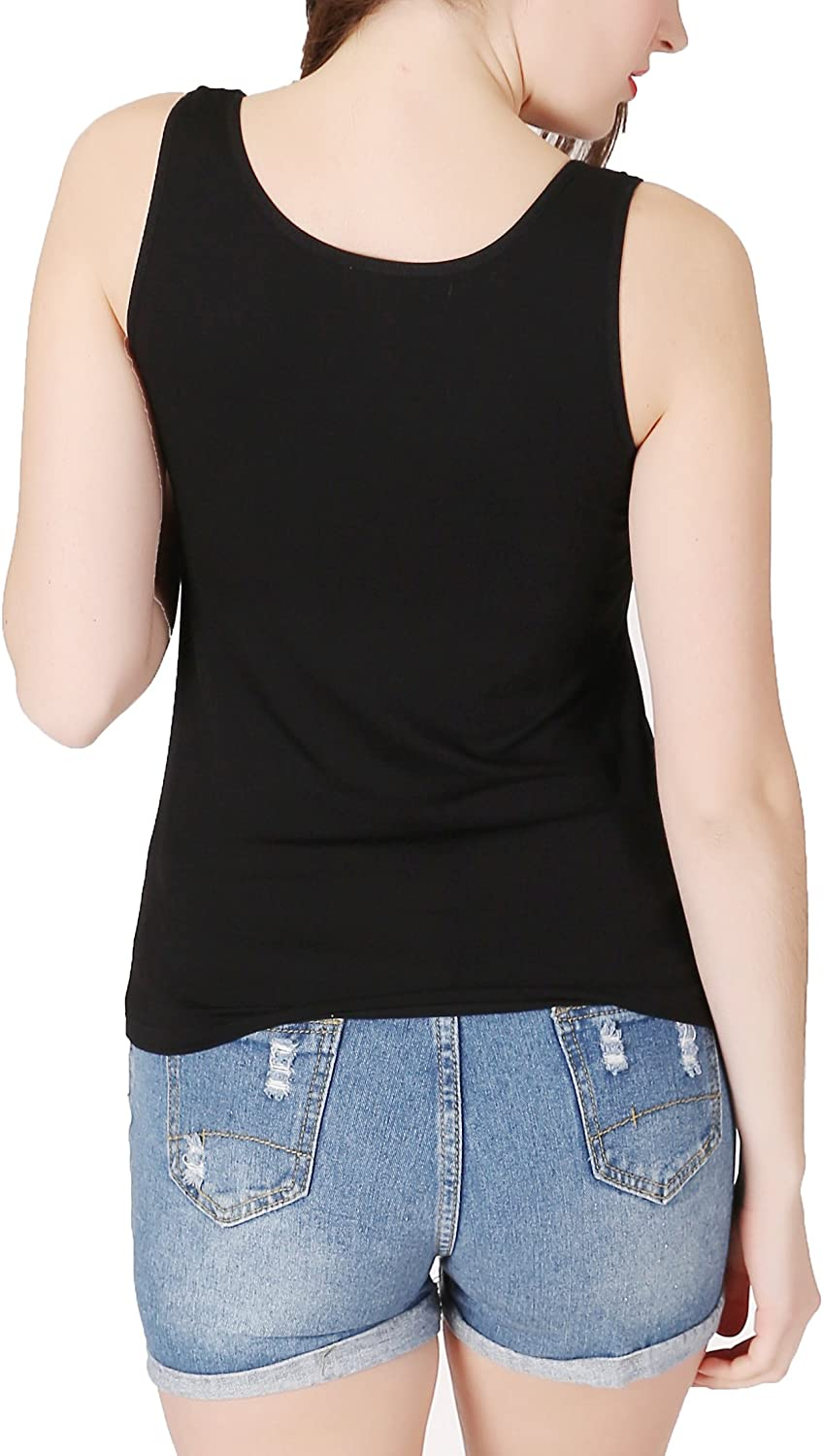 H HIAMIGOS Womens Scoop Neck Tank Tops Padded with Built in Bra