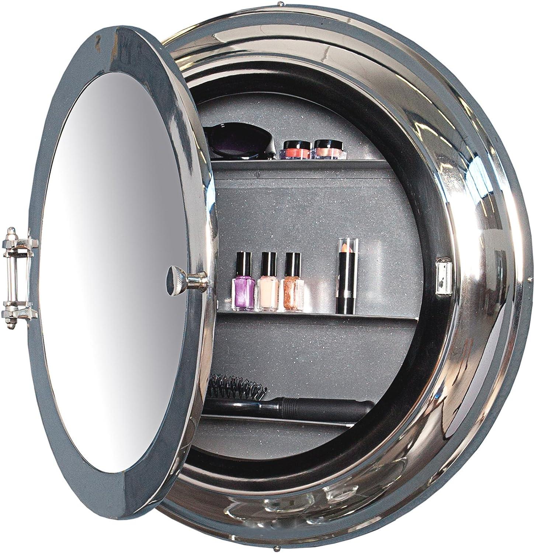 Maritimer Spiegel Bullauge Silber 55cm Metall Aluminium Legierung Mit 3 Ablagefachern Badspiegel Schminkspiegel Badezimmer Amazon De Kuche Haushalt