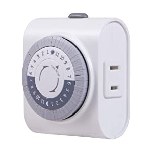 GE 24-Hour Indoor Plug-in Mechanical Timer, 1 Polarized Outlet, 30 Minute Intervals, Daily On/Off Cycle, for Lamps, Portable Fans, Seasonal, Christmas Tree Lights, UL Listed, 15076, Gray/White