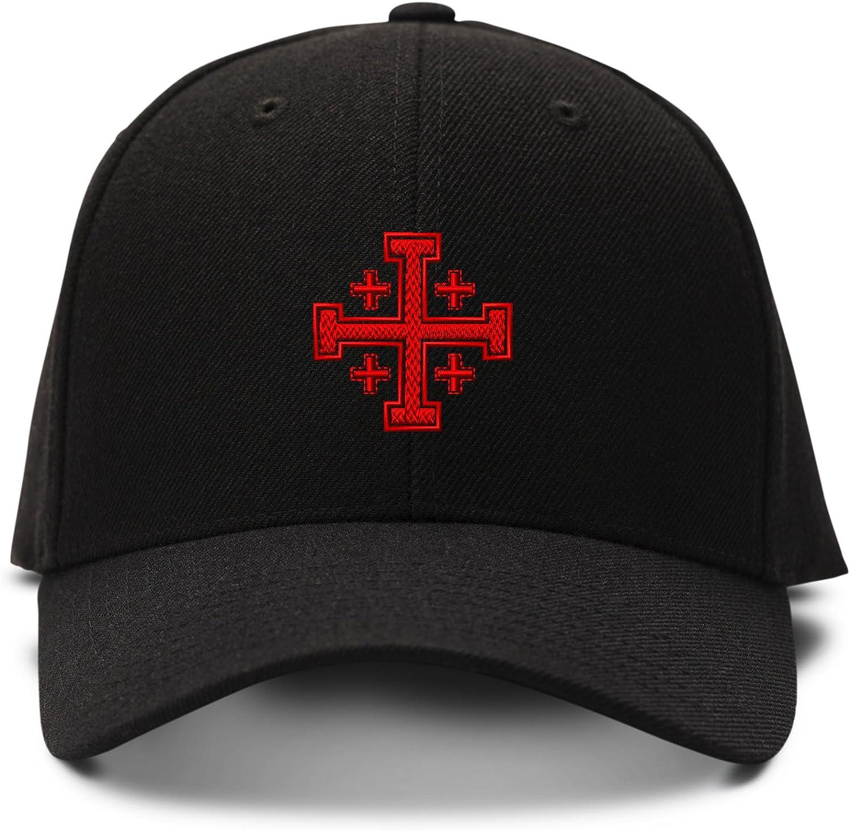 Jerusalem Cross God Jesus Embroidery Twill Cotton 6 Panel Low Profile Hat Black