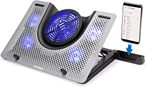 ENHANCE Cryogen 3 Gaming Laptop Cooling Pad - USB Powered 5 LED Fans, Metal Cooler Surface fits 17.3 inch Laptops, Device Holder for Smartphone, 5 Adjustable Stand Settings, Portable for PC Gamer