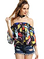 ROMWE Women's Off Shoulder Cute Loose Blouse Crop Top(One Size)