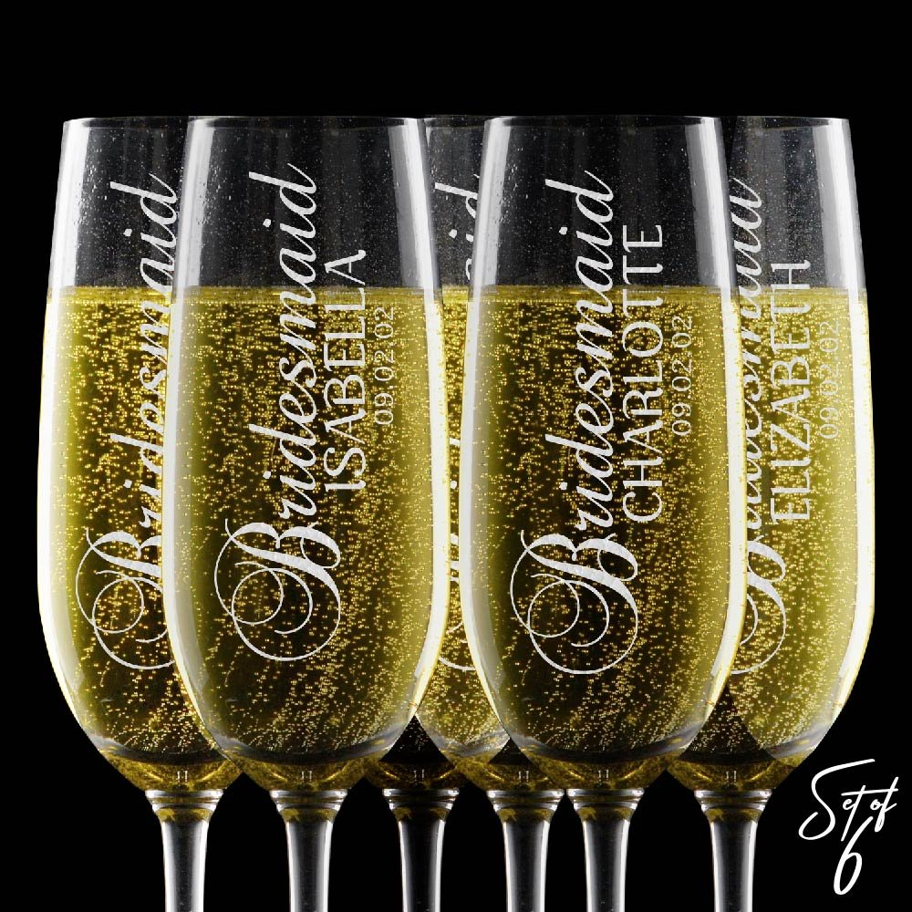 Set of 6, Personalized Champagne Flute Glasses - Any Title - Bridesmaid Wedding Gifts Toasting Flutes for Wedding Registry -2