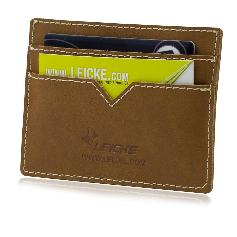 MANNA étui pour cartes visite | sacoche de haute qualité de cuir Nubuck, marron | pour cartes crédit ou carte d'identité
