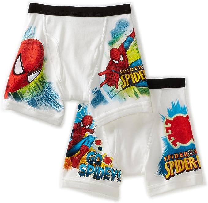Boys Spider Man Boxer Shorts 2 Pack Set Trunks Cotton