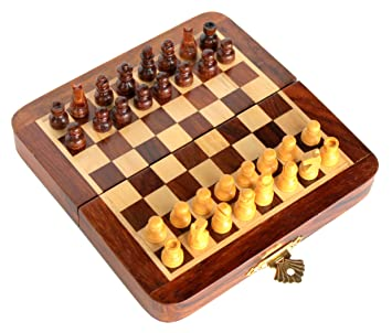 7u0026quot; X 7u0026quot; Collectible Wooden Travel Folding Small Chess Game Board  Set + Wooden