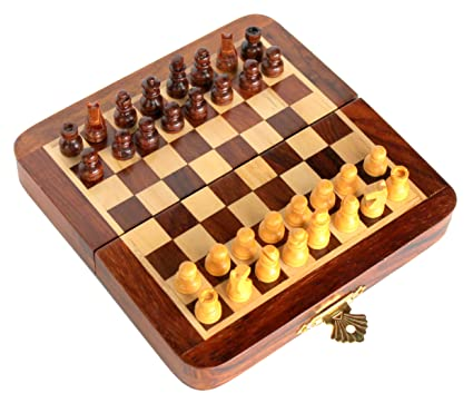 StonKraft 7 x 7 Collectible Wooden Travel Folding Small Chess Game Board Set + Wooden Magnetic Crafted Pieces - Perfect Birthday Gift